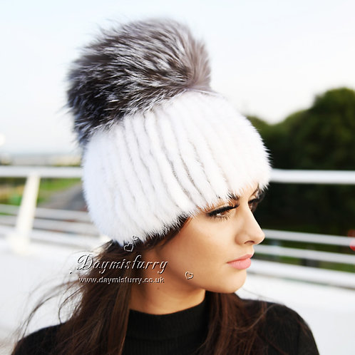 DMC56H White Mink Fur Beanie Hat With Large Silver Fox Fur Pom Pom