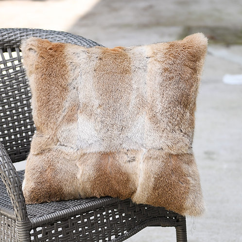 DMD05B Full Pelt Rabbit Fur Pillow - Natural Tan