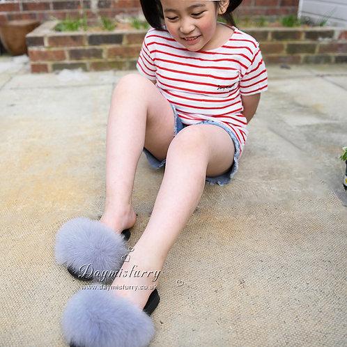 Fox Fur Children's Slipper - Light Grey