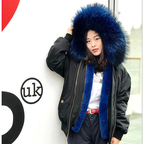 DMGP19H Faux Fur Lined Bomber  With Raccoon Fur Collar