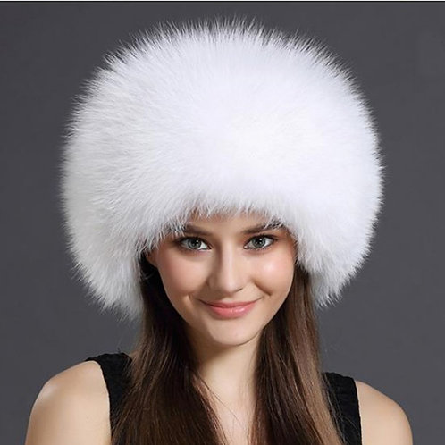 DMC77D White Fox Fur Hat with Leather Top
