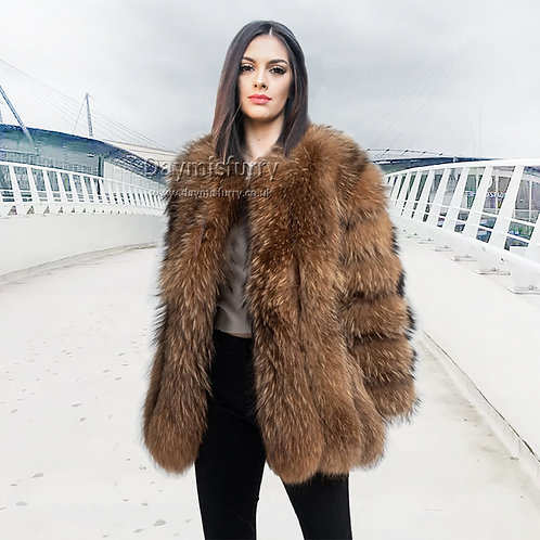 DMGA62 Luxury Vertical Stripes Raccoon Fur Jacket