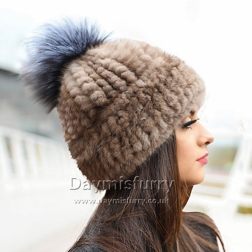 DMC239D Knit  Mink Fur Hat With Silver Fox Fur Pom Pom