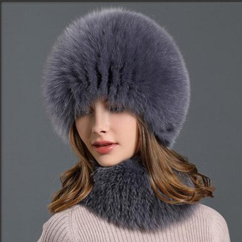 DMC01D Fox Fur Hat Scarf Set for Woman