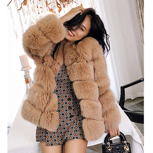 DMGA114C Extremely luxury Fox Horizontal Fur Jacket
