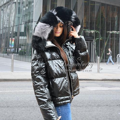 DMGD16C Down Coat With Fox Fur Trim