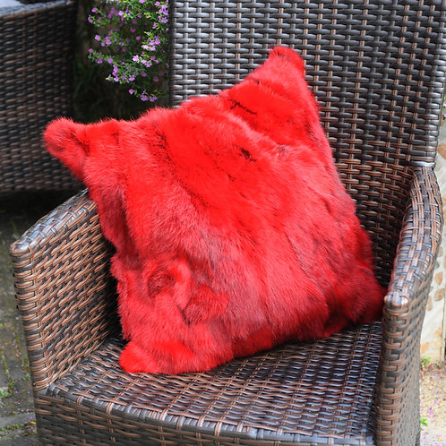 DMD17A Pieced Rabbit Fur Pillow Cover In Red