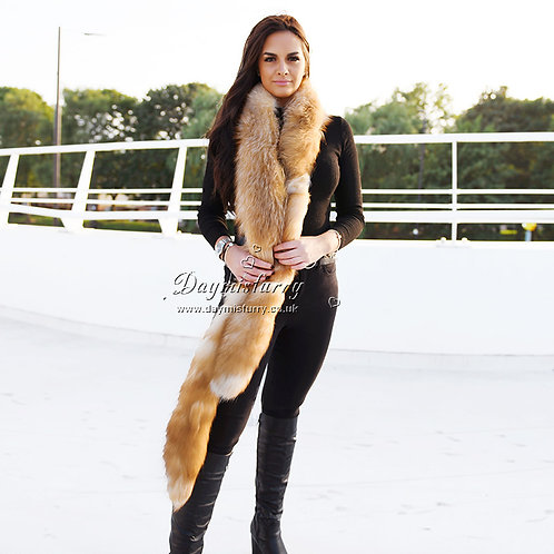 DMB17 Luxe Crystal Fox Fur Stole with Tails