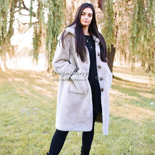 DMGT09A  Beige Sheep Wool Coat