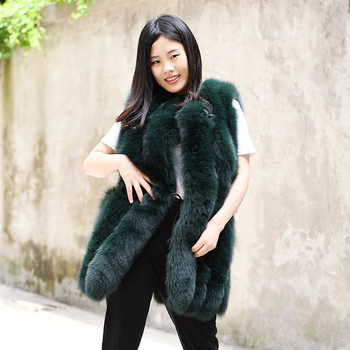 DMGB188E Finn Fox Fur Horizontal Design Gilet-Blackish Green