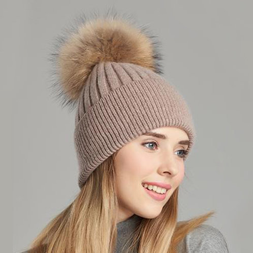 DMC50B  Woolen Beanie Hat With Raccoon Pom Pom