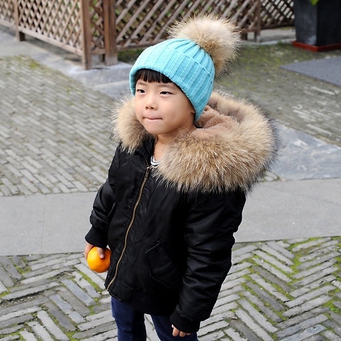 DMGC08C Waterproof Kid's Bomber With Faux Fur Lining And Raccoon Fur Hoodq