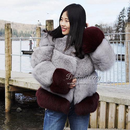 DMGA52 Extremely luxury Rose Fox Horizontal Fur Coat