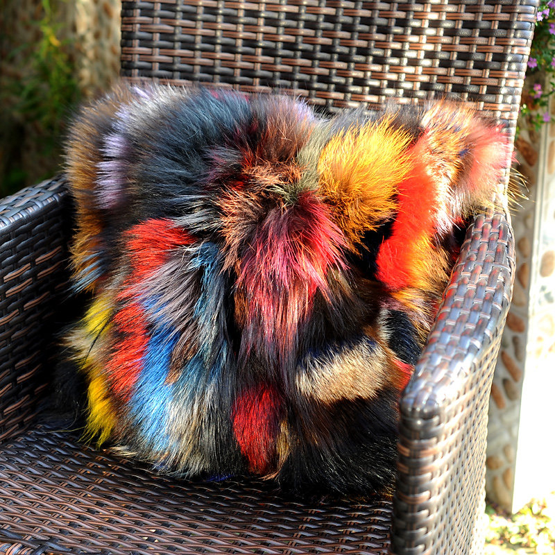 Real Fur Cushion Cover Patchwork Mink Multicolor Pillow Real Fur Pillow