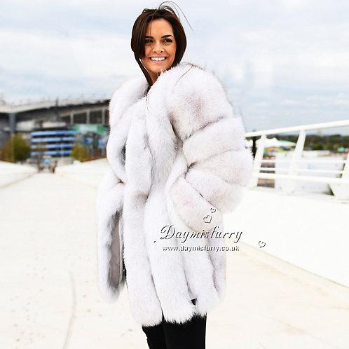 DMGA218A Luxury 3/4 Length Blue Fox Women Coat
