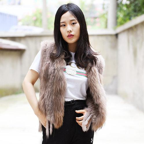 DMGB57G Knit Rabbit Tassle Vest with Finn Raccoon Fur Trim