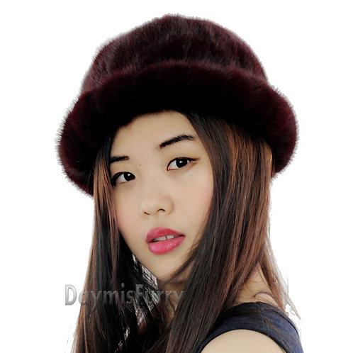 DMC197A Mink Fur Roller Hat with Mink Top