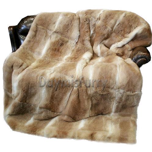 DMD08H Rabbit Fur Blanket / Fur Throw -Natural Colour