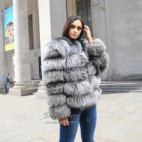 DMGA14  Silver Fox Fur Jacket Fur Coat