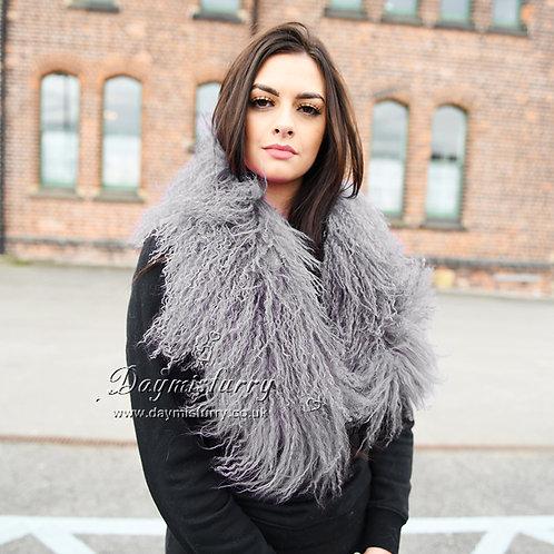 DMA52T Detachable Mongolia Lamb Fur Collar In Light Grey