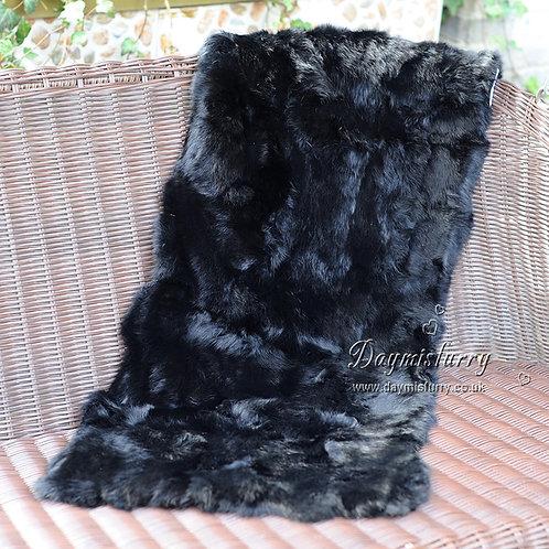 DMD18K  Patchwork Rabbit Fur Rug in Black