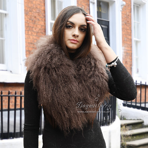 DAA52P Detachable Mongolia Lamb Fur Collar / Fur Scarf