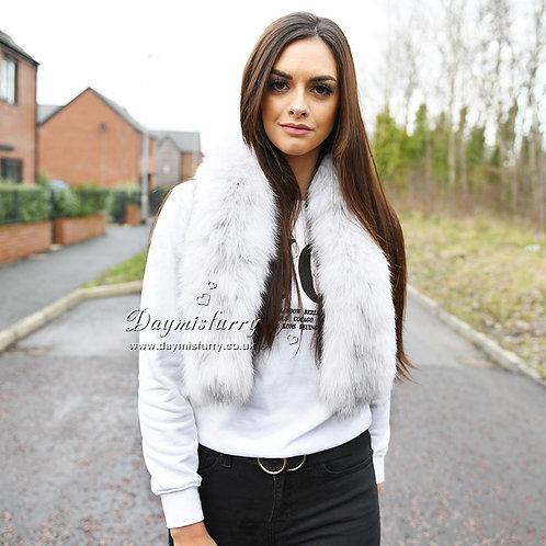 DMS117B Knit Blue Fox Fur Scarf