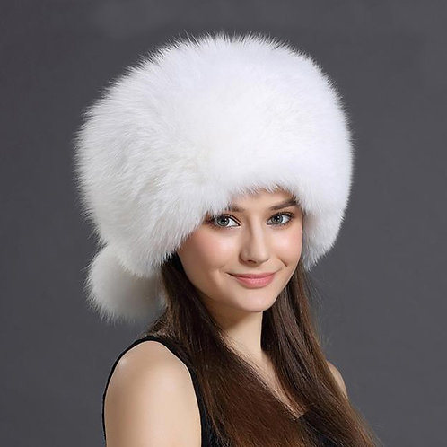 DMC169D White Fox Fur Hat With Two Tails
