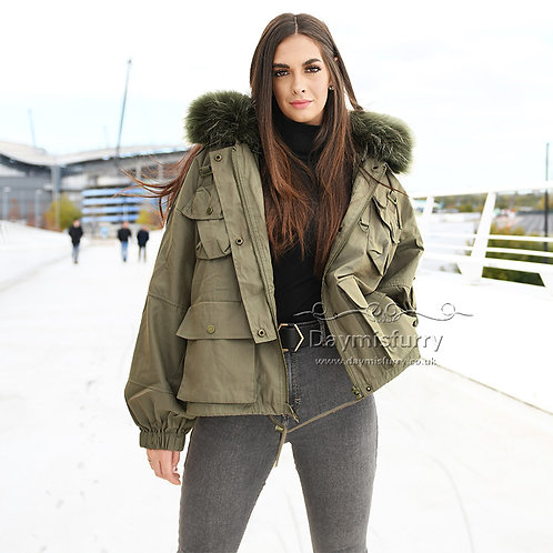 DMGD20 Detachable  Military Down Coat With Raccoon Fur Collar