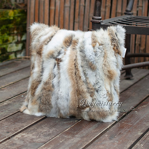 DMD17 Natural Brown Pieced Rabbit Fur Pillow