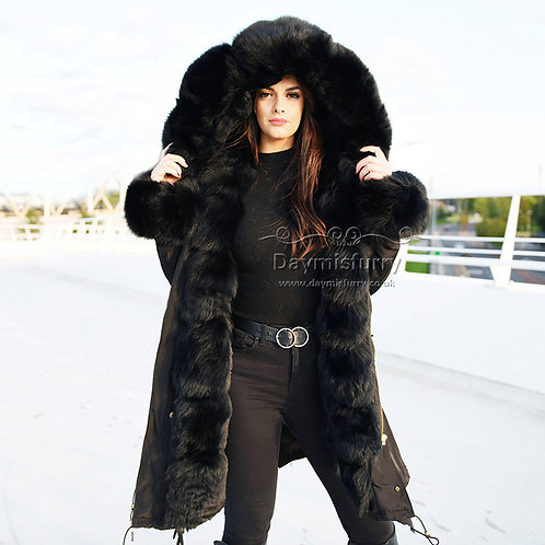 DMGP37B Rex Rabbit Fur Lined Parka Jacket With Fox Fur Trims & Hood,