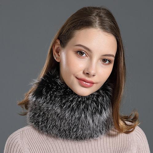 DME17E  Fox Fur Headband / Neck Warmer In Black Frost