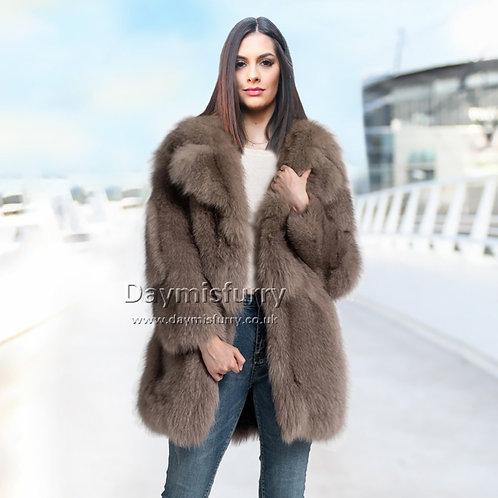 DMGA03C  Pieced Fox Fur Jacket, Real Fur Coat, Winter Coat