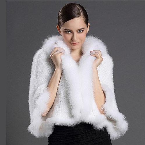 DMBM13A Knit Mink Fur Wedding Shawl With Fox Fur Trim