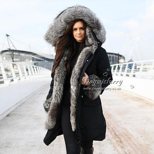 DMGD11 Black Down Jacket With Silver Fox Fur Trim and Cuffs