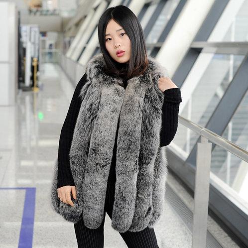 DMGB158D Finn Fox Fur Horizontal Design Gilet -Black Frost
