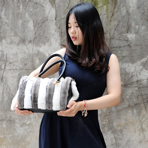 DMH57A Dyed White And Grey Mink Fur Handbag with Leather Accents