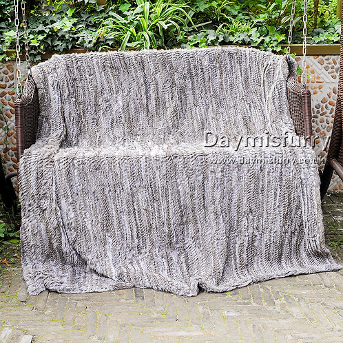 DMD10A Knitted Rabbit Fur Throw Blanket in Natural Color