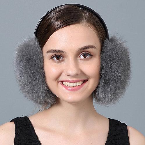 DMA73B Grey Fox Fur Earmuffs With Leather Band
