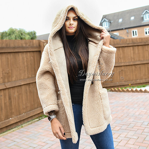 DMGT13B Women Fuzzy Coat / Oversize Hooded Teddy Jacket