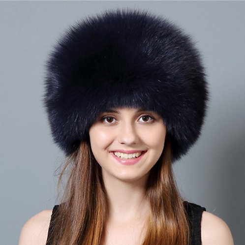 DMC77M  Fox Fur Hat with Rex Rabbit Fur Top