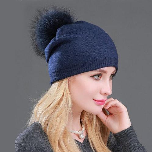 DMC49F  Wool Beanie Hat With Raccoon Fur Pom Pom