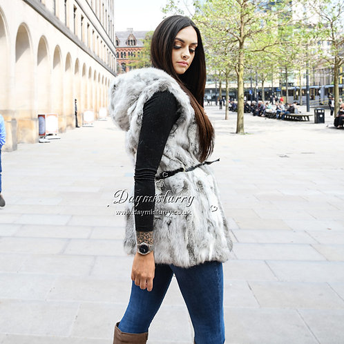 DMGB102 Rabbit Hooded Fur Vest