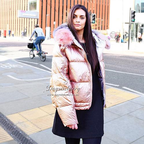 DMGD16B NEW IN Down Jacket With Fox Fur Trim