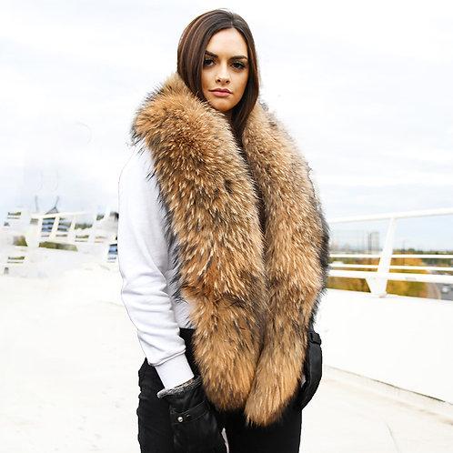 DMB101 Large Detachable Finn Raccoon Fur Collar