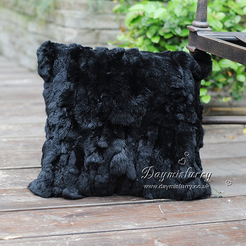 DMD27H Pieced Rex Rabbit Fur Pillow Cover