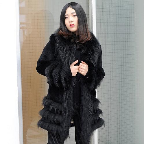 DMGA224 Sheared Rabbit Fur Coat with Finn Raccoon Trim