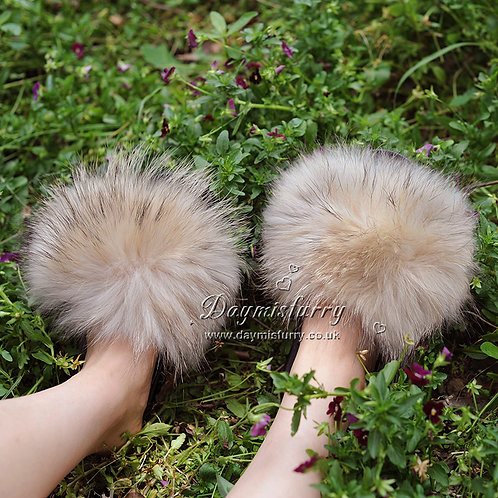 Raccoon Fur Furry Slipper - Cream