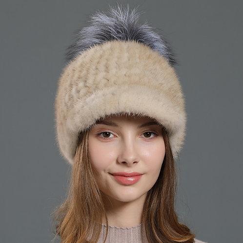 DMC85B Knit Mink Fur Hat Trucker Style Hats  With Silver Fox Fur Pom