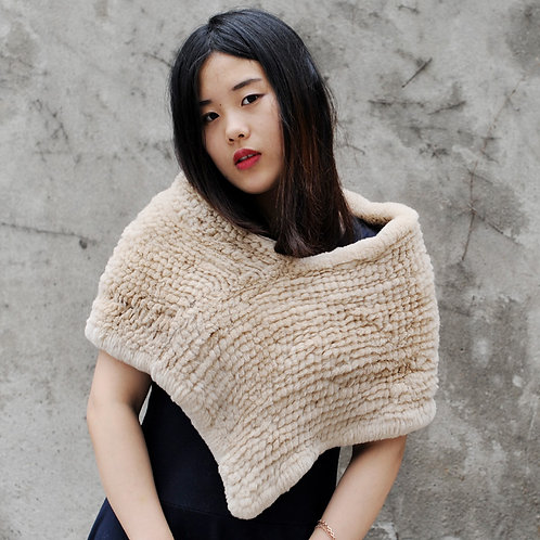 Knitted Rex Rabbit Fur Shawl In Beige